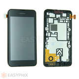 Nokia Lumia 530 LCD and Digitizer Touch Screen Assembly with Frame [Black]