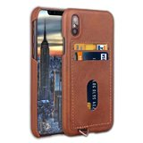Back Cover with Card Pocket Case for iPhone X / XS [Dark Brown]